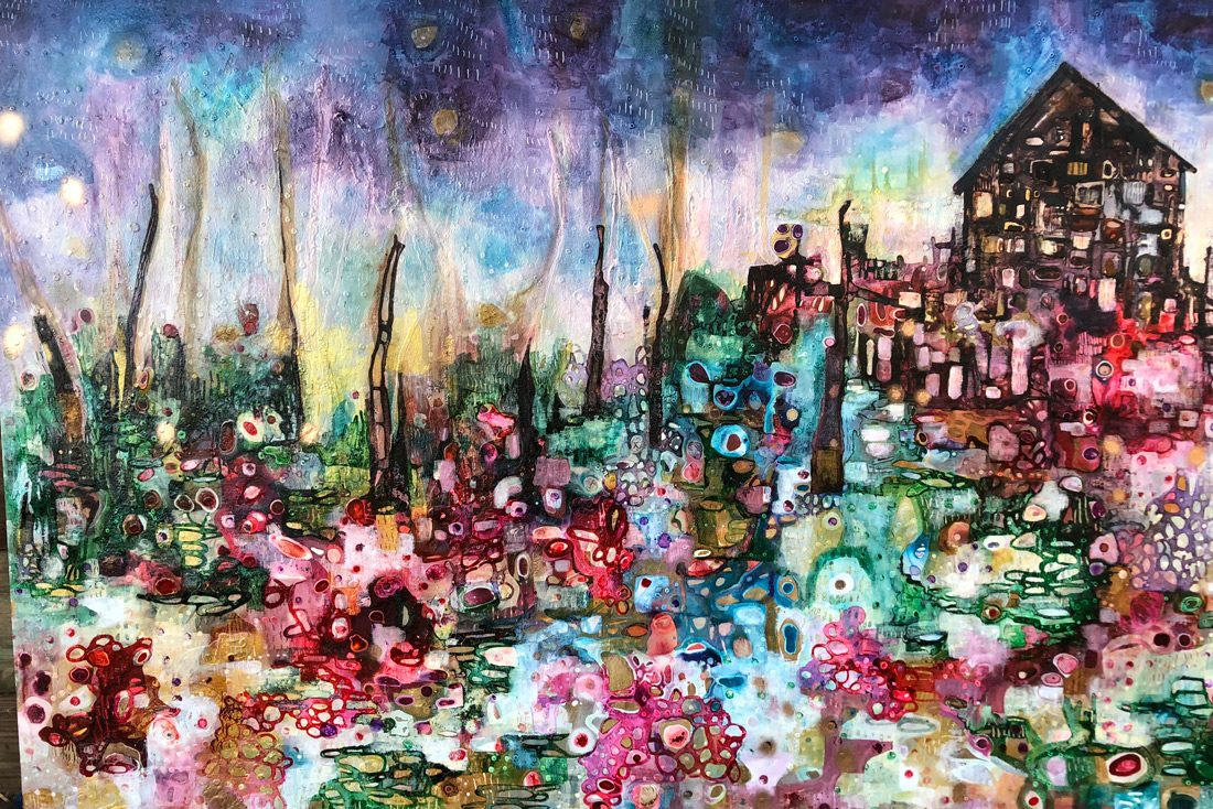 Fairytale cottage, 103x,155cm. Mixed media on canvas, 2018.