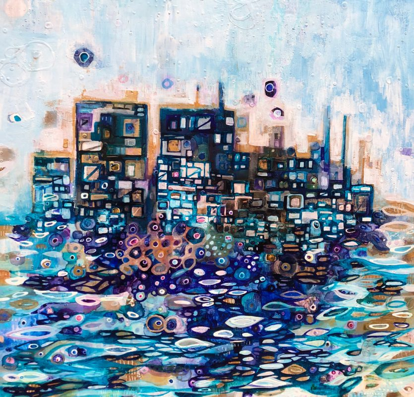 Jewel city at sea. 103x103cm. Mixed media on linen, 2018.