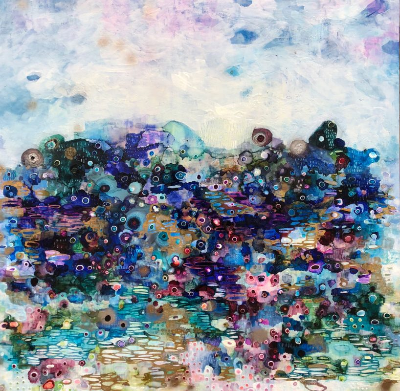 Mountain Jewels bloom. 123x123cm. Mixed media on linen, 2018.