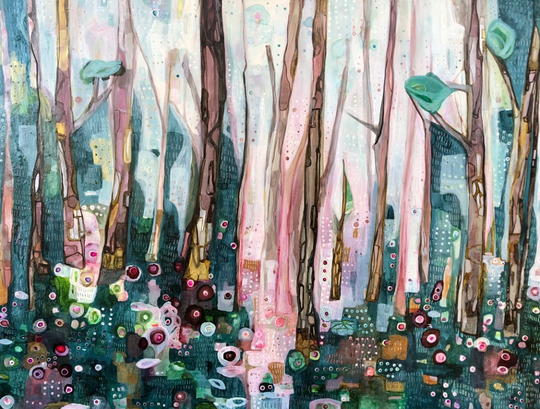 Path through the trees. 93x123cm. Mixed media on linen, 2018.