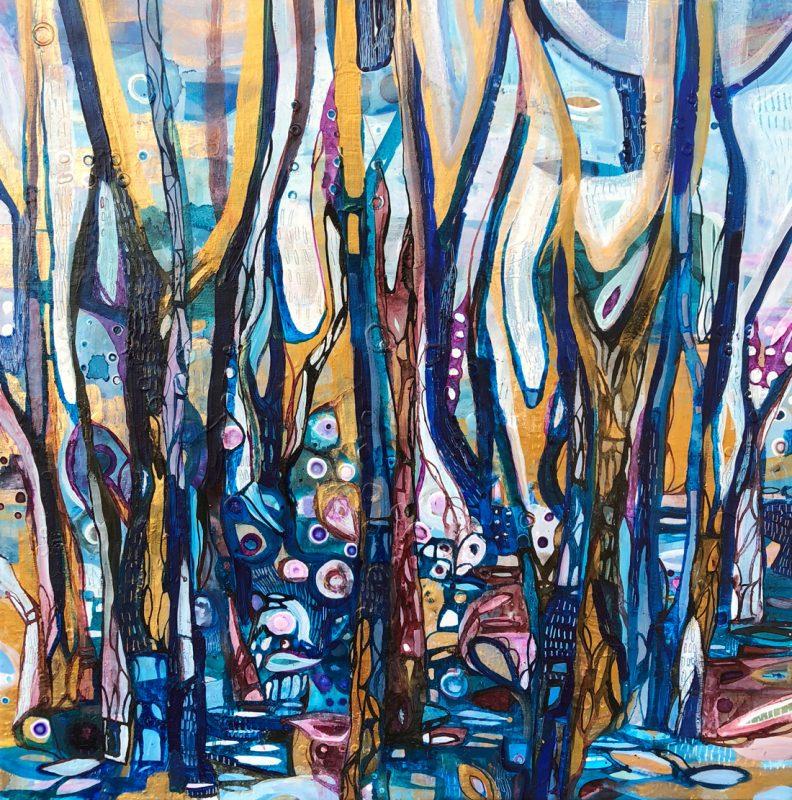 Rich wilderness. 63x63cm. Mixed media on linen, 2018.